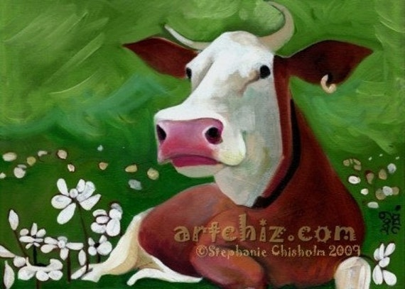 Brown Cow Art - Jersery Cow in Green Field with White Flowers - Flower Break - Brown Cow Art - Cow Art - Cute Animal Art