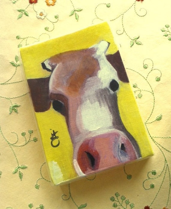Sunshine Cow -  4 X 6 Inch  Handmade Painting on Canvas