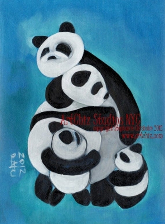 Panda Bears Hugging Illustration. Panda Family. Art Print. Nursery Art. Signed by the Artitst. - Panda HuG