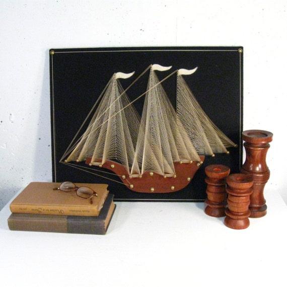 Vintage ship string art, black felt