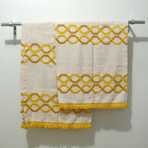 Vintage groovy curtain panels, cream and golden yellow, fringe, geometric design, pocket top