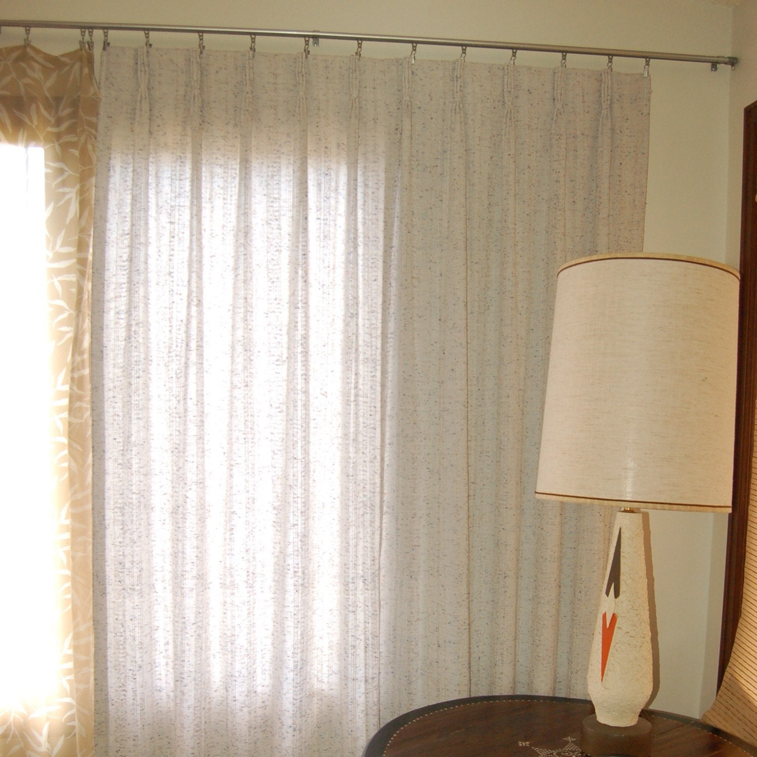 Vintage Mid Century Modern Pleated Curtains In Greyish White