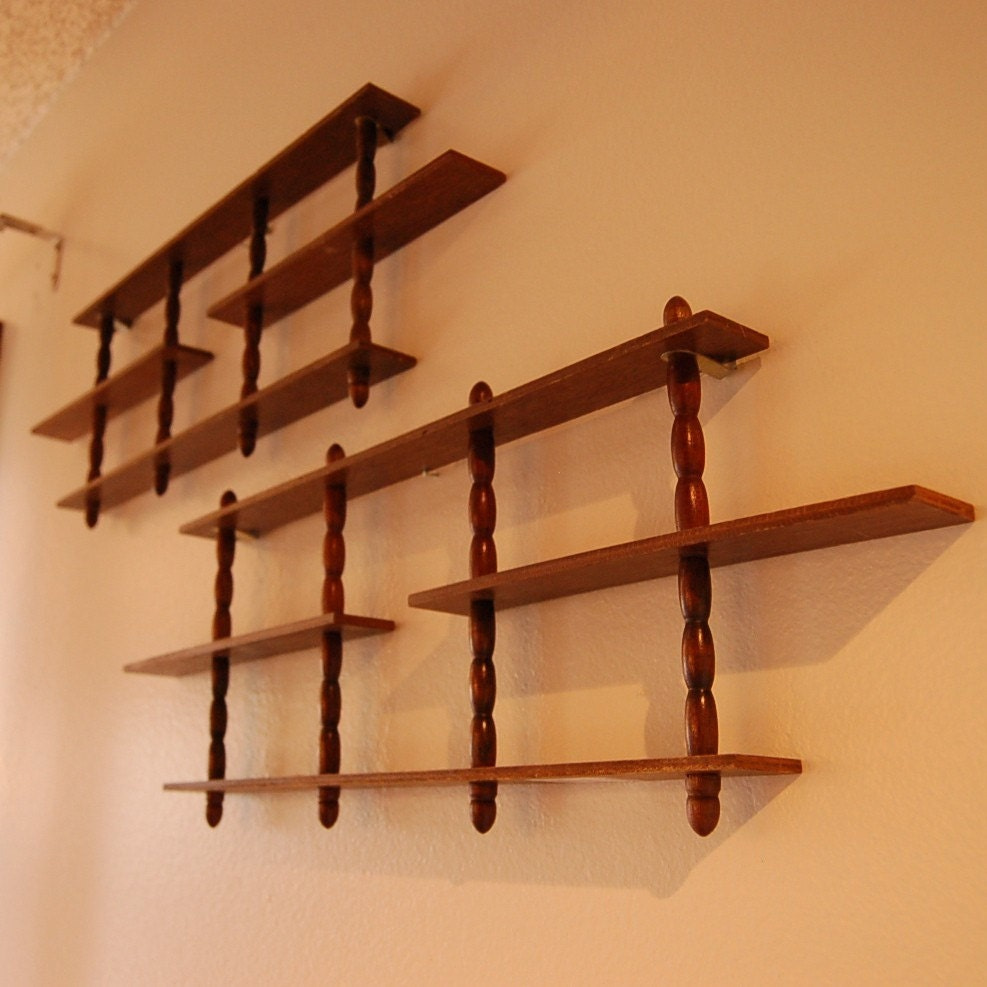 vintage wood display wall shelves for collectibles by stephied. Black Bedroom Furniture Sets. Home Design Ideas