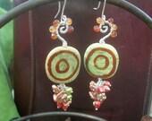 SALE   -    KENYA Sterling Earrings - Hessonite Garnets, Kazuri Handmade Beads, Keishi Pearls, Freshwater Pearls