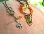SPICY KOCHI Exotic Sterling Necklace - Carnelian, Citrine, Peridot, Smokey Green Quartz, Lemon Quartz, Rhodolite