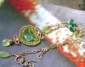 JOLIE FEMME - Sterling Necklace - Peridot, Fluorite, Prehnite, Chalcedony, Vintage Glass