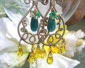 GYPSY ENCHANTMENT - Sterling Swing Earrings - Kyanite, Serpentine Quartz, Apatite, Lemon Quartz, Intricate Coiling