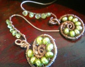 LITTLE EXOTIC FERN  -  Sterling Silver Earrings - Peridot, Green FW Pearls
