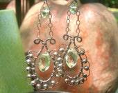 SEAFOAM Sterling Swing Earrings - Prasiolite Marquises, Prasiolite Rondelles, Sterling Rounds