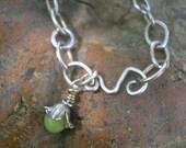 SWEET JASMINE -  Fine Silver Handmade Link Bracelet - Fine (99.9) Silver, Golden Yellow Faceted  Jade, Thai (99.0) Silver Flower