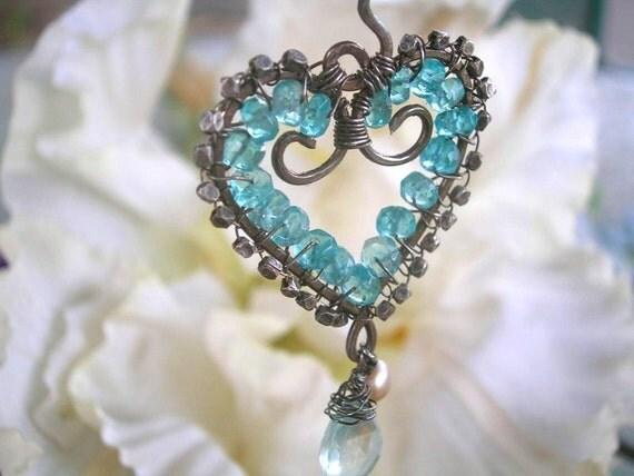 MAUI WATERFALL - Heart Pendant - Sterling, Apatite, Aquamarine, Pearl, Handmade Thai Beads