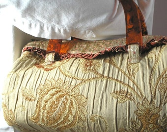 Barrel bag of gold tapestry with faux tortoise-shell handles OOAK