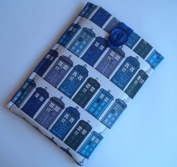 Kindle 3 or Kindle Fire Ereader Sleeve, British Police Call Boxes Fabric