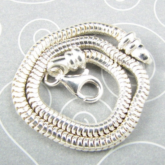 Sterling Silver 3mm Snake Bracelet for Big Hole Beads 7.5 inch