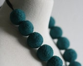 Teal - Felted Bead Necklace