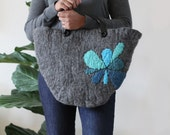 Abstract Flower Felted Tote Bag