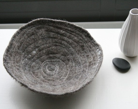 Inward Spiral - Handfelted and Stitched Bowl