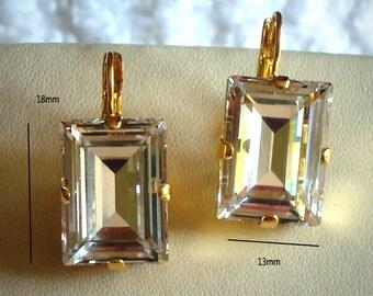 Swarovski clear crystal step cut fancy stone earrings