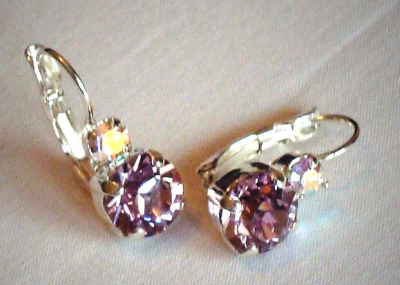 Swarovski crystal light amethyst leverback drop 8mm fancy stone earrings,bright silver soft purple and clear crystal rainbow effect stones