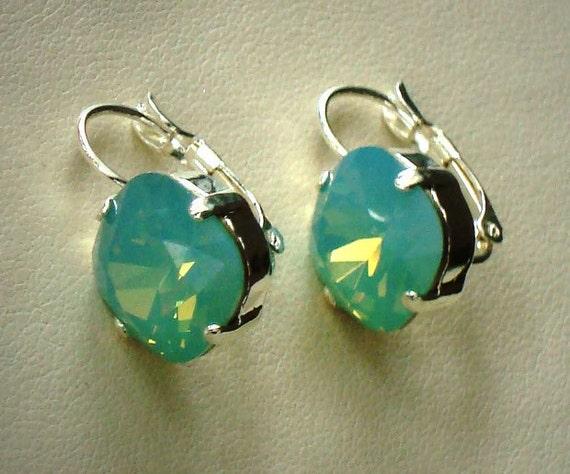 Swarovski crystal 12mm fancy square stone leverabck earrings pacific blue opal,shiny silver setting,light foam sea blue stone earrings