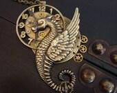 STEAMPUNK TIME TRAVELER, Sea Dragon, Dragging Time Necklace