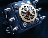 STEAMPUNK CUFF, LEATHER, Spiked Geared Vintage Leather Bracelet Cuff, One of a Kind, Totally Original