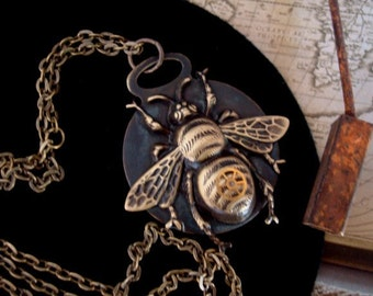 Steampunk tag, GEARED FOR TIME, Original tag pendant, Necklace