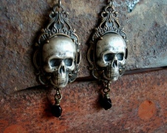 Skull Earrings, Unique, Great Gift, Gothic Human Skulls Silver Ox Earrings, IN WAITING, Gothic, Victorian, Jewelry, Handmade, USA