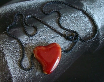 Heart Of Stone, Valentines Heart Necklace with Dark Box Chain, I Wear YOUR HEART, Blood Gothic