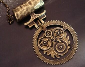 SteamPunk Traveler Gear Necklace, Exclusive to JewelryByTiki, Custom Made, Original