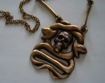 Gothic Skull, Bones, Snake Necklace, Sins Of The Flesh, Twisted Serpent Skeleton Bones