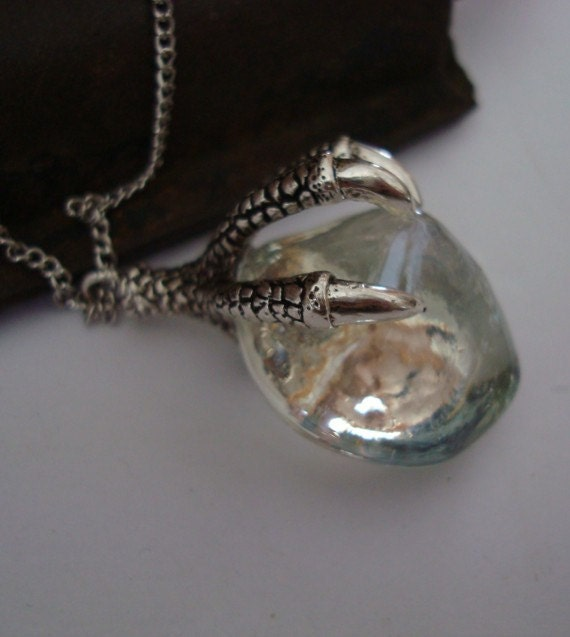 SteamPunk, TALONS and ICE CRYSTAL Necklace, Long Silver Chain, Gorgeous Slight Iridescent  Sheen on Crystal