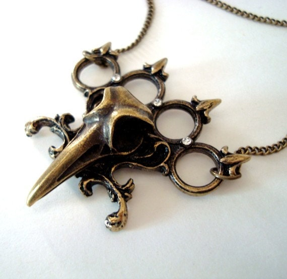 Gothic Jewelry, Brass Knuckles and Raven Skull Necklace, Bird Skull Pendant,Crystal Clear Jewels, Gothic Style