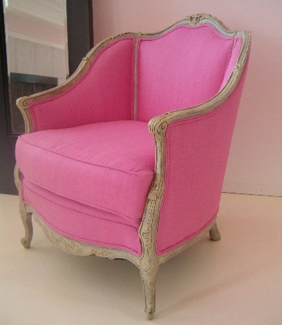 Reserved for Lisa and Dane Blevins Pink Antique Louis XV Bergere Chair