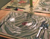 set of 4 zebra tapestry placemats