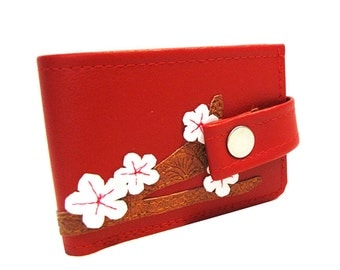 Cherry Blossom ) Bifold Wallet with Snap