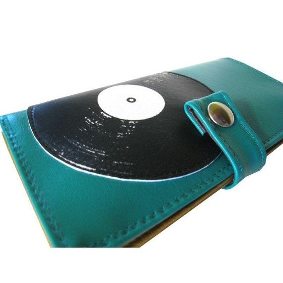 Record (Teal) ) Pocketbook Slash Checkbook Walet