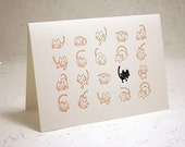 Ginger and Black Cats Letterpress Note Card