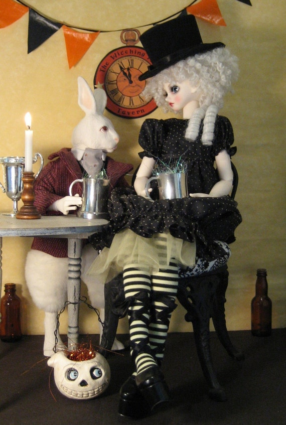 SALE A different Alice in Wonderland and W. Rabbit... complete set of 5 bjd postcards