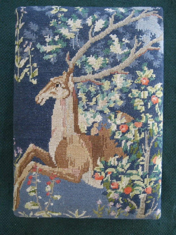 Vintage needlepoint tapestry trinket box with stag deer