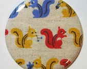 Magnet - Primary Colored Squirrels - 2.25 inch - new fabric - Buy 3, get a 4th free
