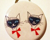 Bottle Opener Keychain - Siamese, If You Please - 2.25 inch - vintage fabric - Buy 3, get 4th free
