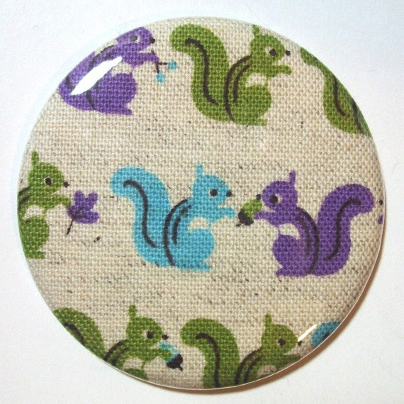 Pocket Mirror - Candy Colored Squirrels - 2.25 inch - new fabric - Buy 3, get 4th free