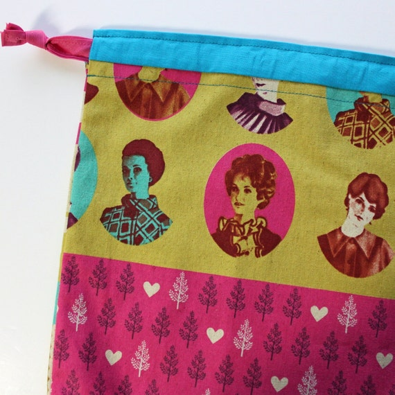Lg Knitting Project Bag - Ephemera Collage - New Fabric