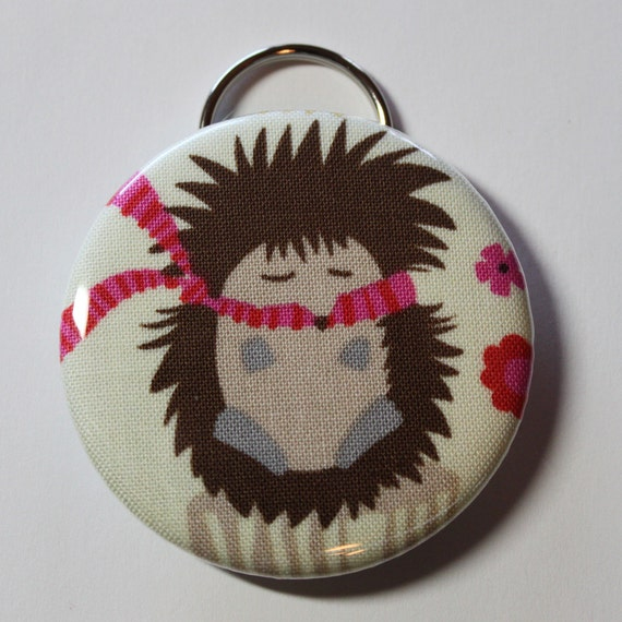 Bottle Opener - Hedgehog with Pink Scarf - 2.25 inch - new fabric - Buy 3, get 4th free