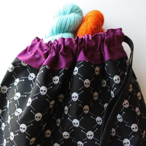 Lg Knitting Project Bag - Yarn Pirates - New Fabric - plum lining