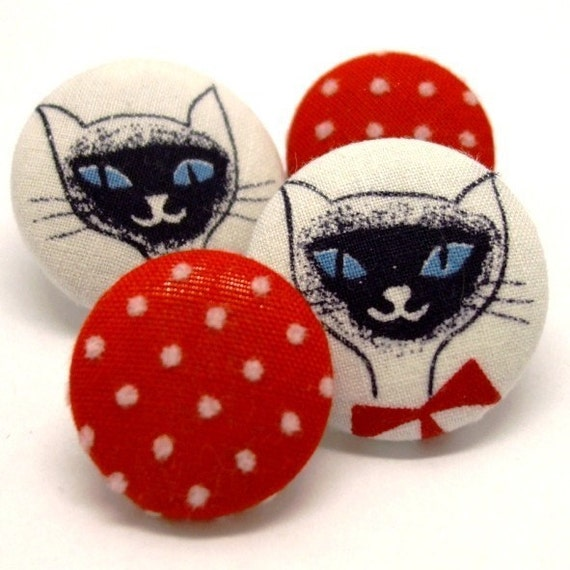 Scatter Pins - Ol Blue Eyes - set of four - vintage fabric