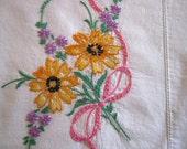 Single Embroidered Pillow Case White Cotton
