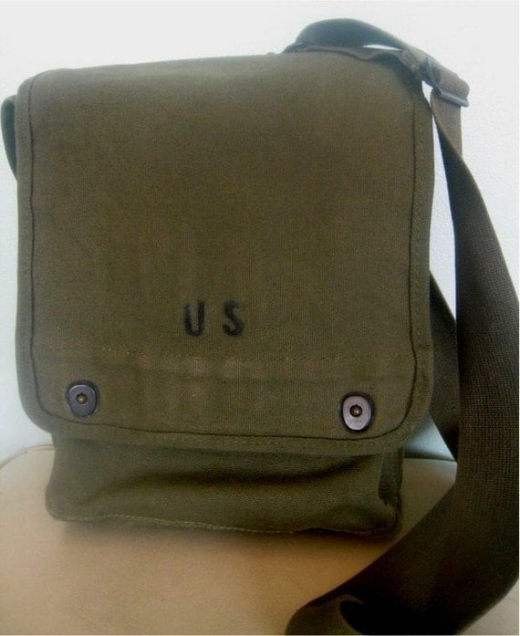 Vintage US Military Canvas Map Case Shoulder Bag