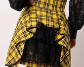 Plaid  High Waist Steam Punk Victorian Mini Skirt Yellow Black
